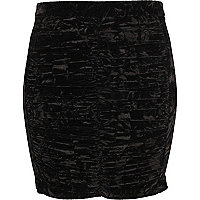 Black ruched tube skirt