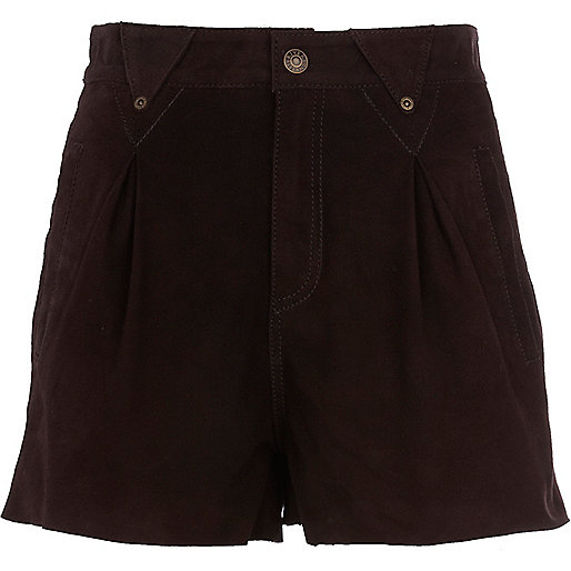 Brown chelsea girl leather shorts