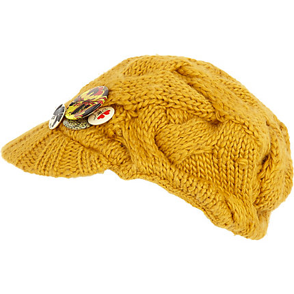 Yellow Girl Baker Boy Hat :  hats accessories yellow