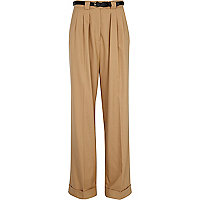 Beige wide pleat trousers