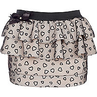 Beige heart printed skirt