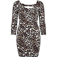 Black animal print bodycon dress