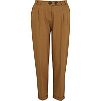 Beige peg leg trousers