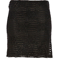 Black/gold textured lurex mini tube skirt