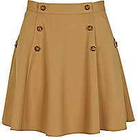 Beige button circle skirt