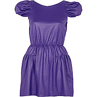 Purple waisted wet look dress