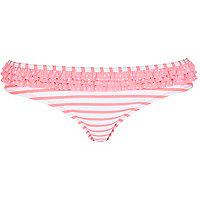 Coral stripe bikini briefs
