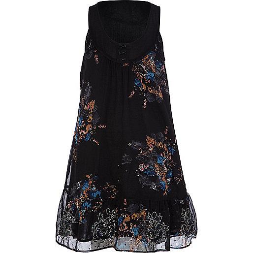 Black beaded swing dress