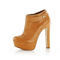 Brown platform ankle boots
