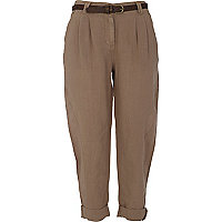 Beige cropped linen peg leg trousers