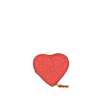 coral floral quilted heart coin purse  from riverisland.com