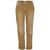 Beige denim straight leg jeans