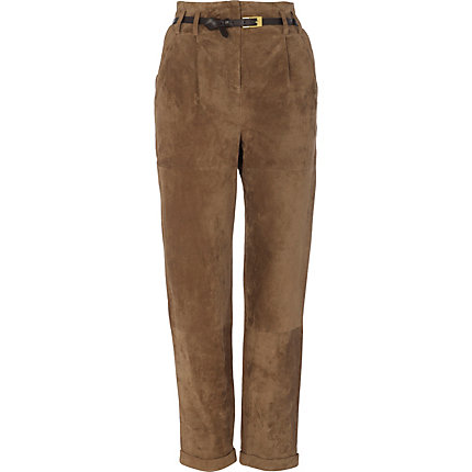 Brown suede high waisted peg leg trousers