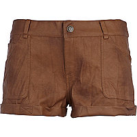 Brown pu shorts