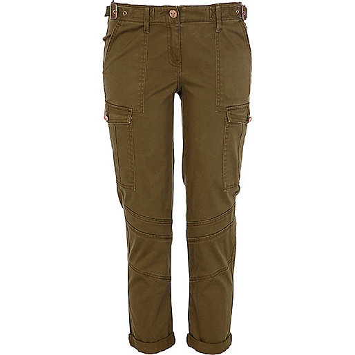 Khaki skinny combat trousers