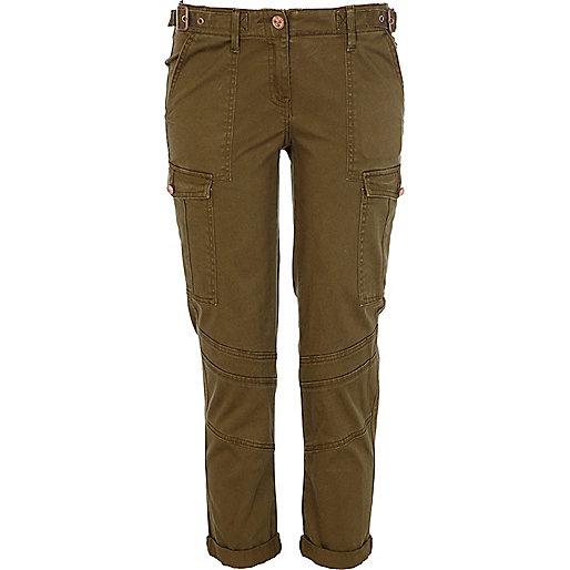 Khaki skinny combat pants