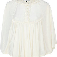Cream cotton cape top