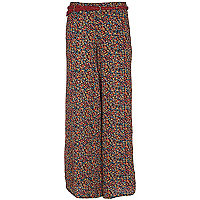 Blue floral print palazzo trousers