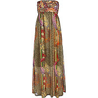 Khaki print embellished maxi dress