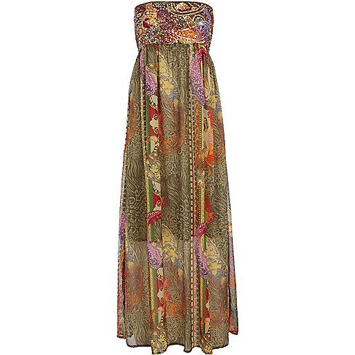 Khaki print embellished maxi dress