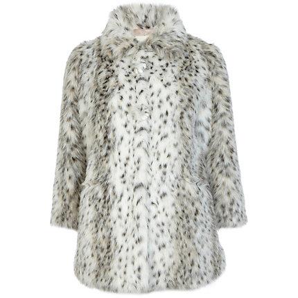 White print faux fur coat