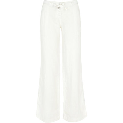 White wide leg linen trousers