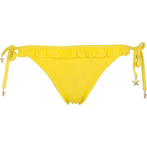 Yellow ruffle bikini briefs