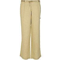Beige wide leg linen trousers