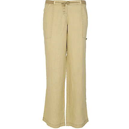 Beige wide leg linen trousers