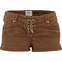 Brown lace up hotpants