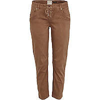 Brown skinny crop jeans