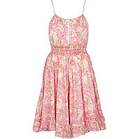 Pink print strappy sundress