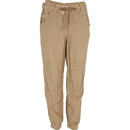 Light brown linen joggers