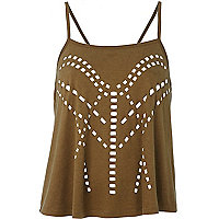Brown laser cut cami