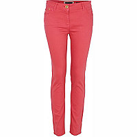 Coral denim super skinny jeans