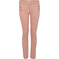 Dusty pink super skinny zip detail jeans