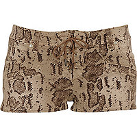 Beige snake print denim shorts