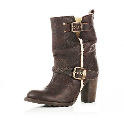 Dark brown double buckle ankle boots