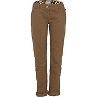Brown roll leg straight jeans