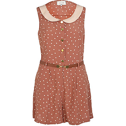 Beige polka dot playsuit