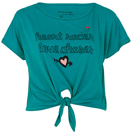 Green heart racer tie front t-shirt