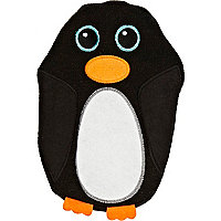 Black penguin hot water bottle