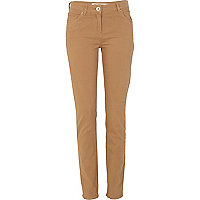 Beige regular length skinny jeans