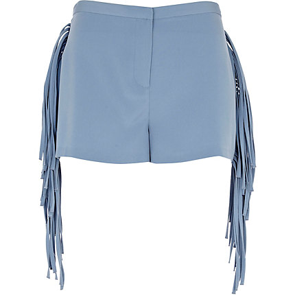Light blue fringe shorts
