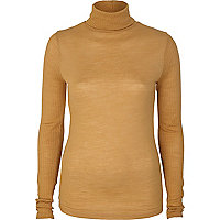Beige ribbed sleeve polo top