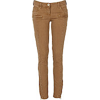 Beige zip skinny trousers