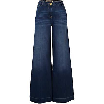 Dark wash denim wide leg jeans