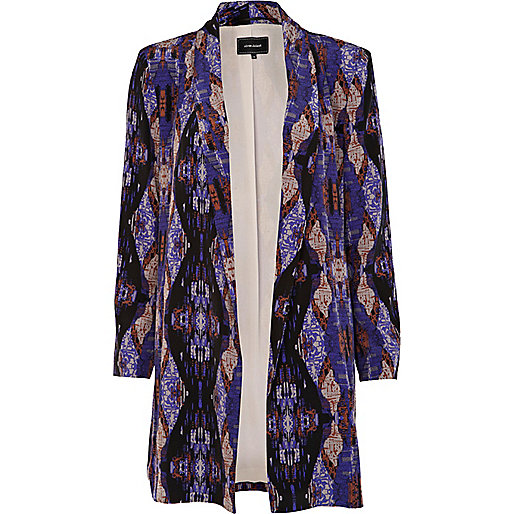 Dark purple print long jacket