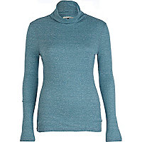 Blue ribbed polo neck top
