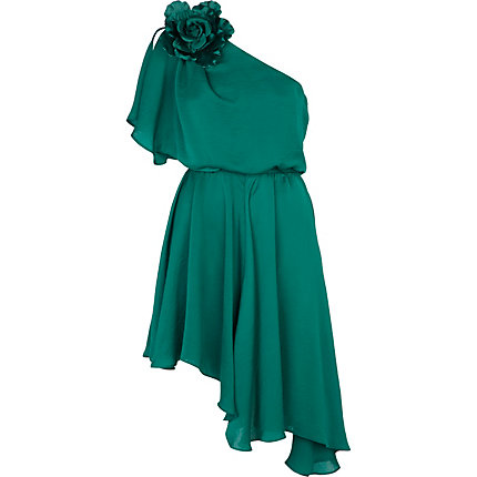 Dark green one shoulder asymmetric midi dress